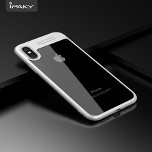 IPAKY TPU Bumper Transparent PC Back Cover Shock Absorption Flexible Super Slim Mobile Phone Soft Rubber Case For Apple iPhone X(China)