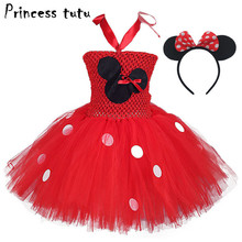 PRINCESS TUTU Cute Dot Girls Minnie Dress Mouse Ear Flower Headwear Birthday Kids Baby Girl Dresses Clothes Cosplay Costume W054(China)