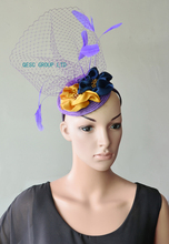 NEW Purple navy yellow veiling fascinator kentucky derby hat with feathers&handmade flower for wedding race .(China)