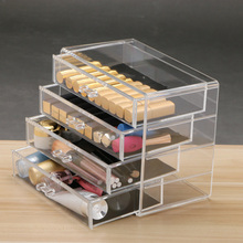 New Clear Plastic Acrylic 4 Drawers Jewelry Cosmetic Make Up Organizer Holder Box Case Makeup Lipstick Nail Polish Storage