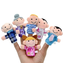 Happy Family Finger Puppets 100%Cotton Materials 6pcs/lot Family Members Finger Puppets Baby Infant Early Educational Plush Toys(China)