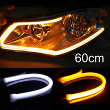 Tonewan New Factory Price Strong Power 60CM White/Amber LED Daylight Running Light Flexible LED Strip DRL Switchback(China)