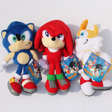 Hot Cute 1pcs 23cm Sonic the Hedgehog Plush Toys Ultimate Flash Sonic Hedgehog Plush Soft Stuffed animal Doll Good Gift For Kids(China)