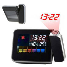 Digital LCD LED Projector Alarm Clock Weather Station Colorful Projecting 2Color
