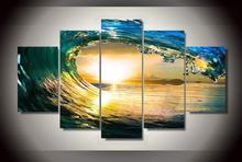 5 Pieces Canvas Paintings Modern Modular Picture Wall Art Print Blue Ocean Home Decoration for Living Room No Framed(China)