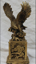 "WBY---322+++13"" Chinese Folk Fengshui Brass King of birds Hawk Eagle Animal Statue Sculpture"