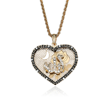 Crystal Hollow Pendant Heart Fine Jewelry New Vintage Rhinestone Necklace Women Gold Color Muslim Islam Allah Necklace P20(China)