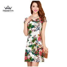 TNLNZHYN 2017Middle-aged Summer Dress Short-sleeved Plus size Printed Ladies Clothes Sexy Round collar Women clothing DressSK589