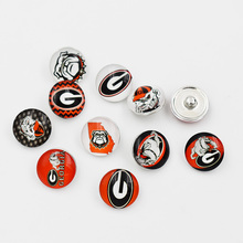 Mixed 50PCS New Style Glass Sport Snap Georgia Bulldogs Snap Charm Jewelry Fit NCAA 18MM Button Snap Bracelet(China)