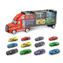 Hot Big Transporter Heavy Truck with 12 Pcs Mini Metal Car Portable Container Truck Model Wheels Car Storage Box Boys Toys Gift(China)