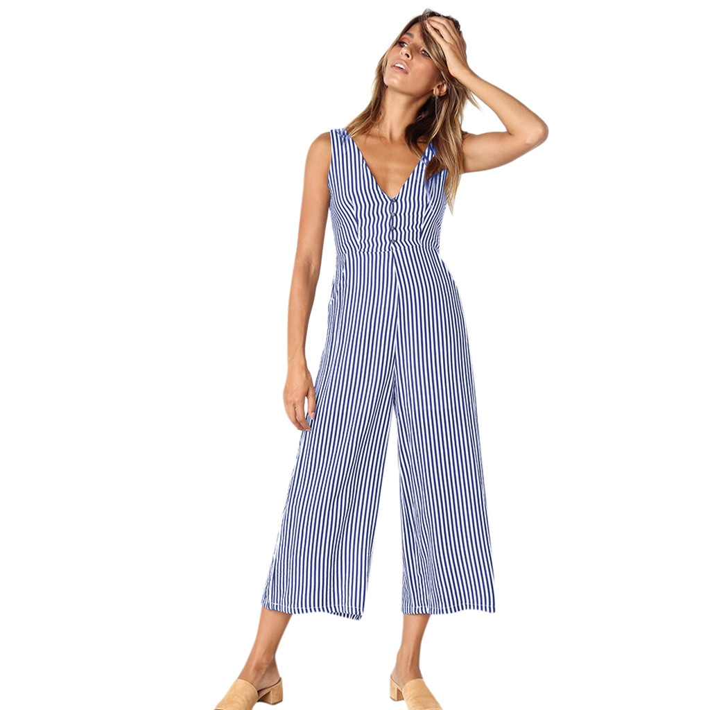 JAYCOSIN  2019  New Summer  Women Striped Jumpsuit Holiday Playsuit Ladies Summer Beach Rompers    19JAN24