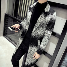 2017 New fashion  Personality patterns in winter clothing Korean version long coat fashion men's fashion coat singer costumes