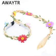 AWAYTR Festival Hippie Headdress Retro Boho Braided Headband Hair Hoop Headdress Tassel Flower Crown Headband for Women