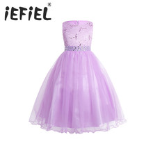 iEFiEL Sequined Lavender Petites filles robes Princess Lace Flower Girls Tulle Maxi Dresses Peagant Party First Communion Dress(China)
