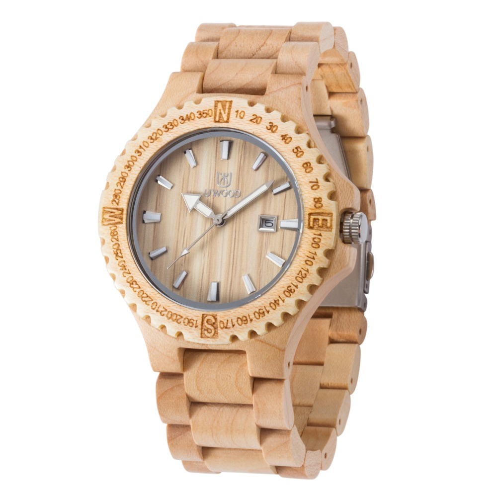 Bamboo wooden Watch Dress Men Watches Wood Bangle Fashion Quartz Watches Calendar Display Mens Wrishwatches Relogio Masculino<br>