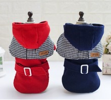 2016 news winter clothes for dog 100% cotton red and blue dog coats jackets plaid padded jacket very warm for pet