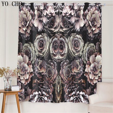 YO CHO Rose Pattern Blackout Curtains for Living Room Deco Kitchen Window curtain 3D Printed Bedroom Curtains Panel 53*96 inch(China)