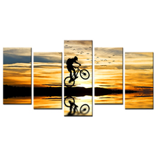 Mountain Bike Racing Canvas Wall Art Bike Jump Poster Prints Extreme Sports Pictures Modern Sunset Landscape Painting (Framed)(China)