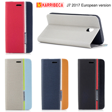 Karribeca flip wallet leather case For samsung galaxy j7 2017 colorful tone phone cover J730 J730f fundas coque etui puzdra tok