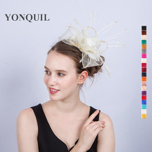 21Colors ladies girls hair bows accessories on hair combs feather wedding fascinator women holiday sinamay DIY headpiece SYF213(China)