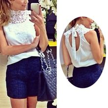 Buy 2017 Women Sleeveless Tops Sexy Halter Lace Chiffon Shirts Casual Slim High Collar Tops Black White