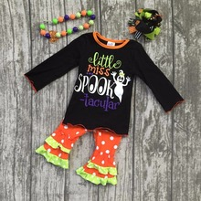 baby girls kids wear Fall/winter clothing children Halloween outfits little miss spook-tacular ghost outfits with accessories