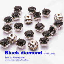 Sew on Rhinestones Black diamond Silver claw SS12 SS16 SS22 SS28 SS32 SS38  144pcs use for DIY accessories  free shipping