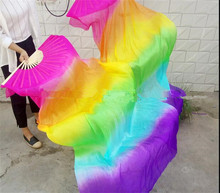 Hand Made Colorful Silk Bamboo Flame Belly Dance Dancing Long Folding Fans Veils Rainbow Color 120cm 150cm 180cm Free Shipping