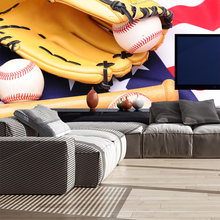 Custom home decor baseball sports photo papel de parede wall paper moderno mural wallpaper for boys kids room bedroom wall decal