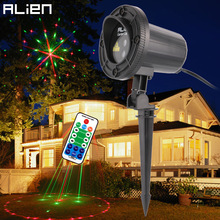 ALIEN Remote 24 Galaxy Patterns Red Green Garden Xmas Laser Projector Light Christmas Tree Holiday Outdoor Waterproof Lighting(China)