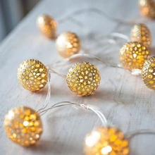 Christmas Tree ornaments Fairy Hollow Golden Silver Ball String Lights Plastic Metallic mini Rope Lighting Garlands Wedding DIY