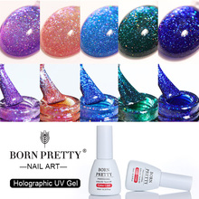 BORN PRETTY Holographic Series Nail UV Gel 10ml Base Coat No Wipe Top Coat Soak Off for UV LED Lamp Manicure Nail Art Gel Polish