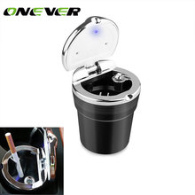 Onever Detachable Cylinder Car Cigarette Ashtray for Cup Holder Smokeless with Blue LED Light and Cover Ashtray Built-in battery(China)