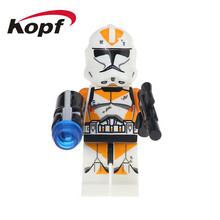 2Star Wars Orange Utapau Clone Trooper Commander Kashyyyk Bricks Action Figures Building Blocks Children Gift Toys XH 630 - Minifigures store