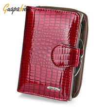 Guapabien Classic Red Short Wallet Women Crocodile Patent Leather Small Purse Ladies Card Holder Coin Purse Bifold Clutch Wallet