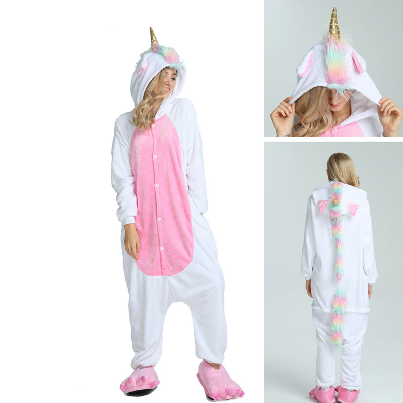2019 New Onesie Wholesale Animal Kigurumi Stitch Star Unicorn onesies Adult Unisex Women Hooded Sleepwear Adult Winter Flannel(China)