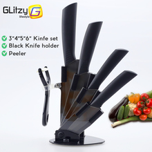 "Ceramic Knife Chef Fruit Zirconia Kitchen Knife 3"" 4"" 5"" 6"" inch + Holder + Peeler Set Black Blade Colorful Handle Cooking Tool"