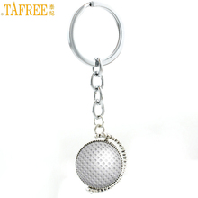 TAFREE novelty fashion double sides Golf picture glass art pendant keychain casual sports men women key chain ring holder SP01(China)