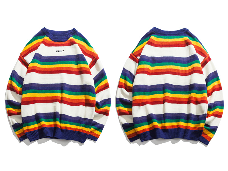 Rainbow Striped Knitted Pullover Sweaters 1