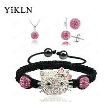 YiKLN Hello Kitty Fashion Shamballa Sets Bracelet & Earrings & Pendant 10mm Disco Ball Beads Shamballa Jewelry SHSE41