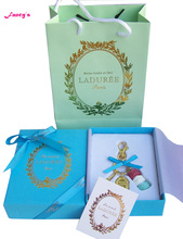 KC15 New Blue (red white blue cake)France  Macaroon Effiel Tower Keychains Christmas Mother Gifts w Box Ribbon Handbag