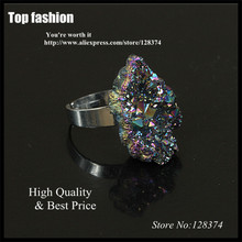 natural raw rough crystal rainbow purple titanium quartz gem drusy druzy stone charms surface adjustable rings for women