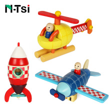 N-Tsi Wooden Magnetic Rocket Airplane Helicopter Assembly Puzzle Block Kit Kids PreSchool Educational Toys for Children Boy Gift