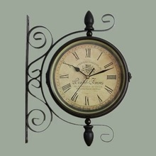 Double Sided Wrought Iron Wall Clock Digital Watch Vintage Wall Clock Relogio Parede Klok Muur Wanduhr Reloj Mural Wandklok Saat(China)