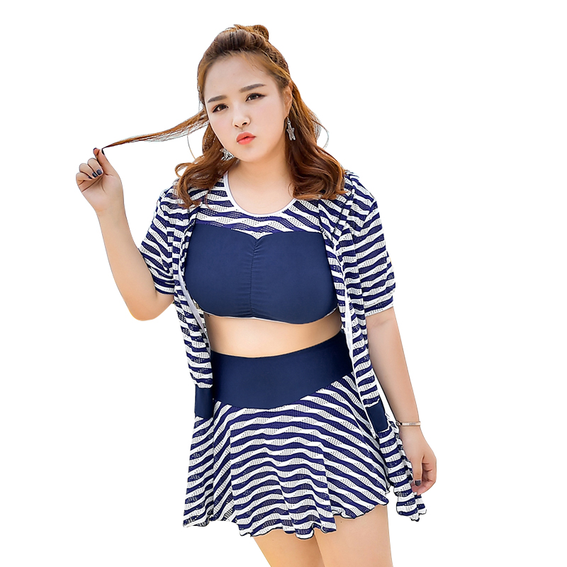 Summer Retro Navy Striped Sexy Women Plus Size Bikini Swimwear with Hollow Smock 3 Pieces Swimsuit Solid Patchwork Bathing suit<br>