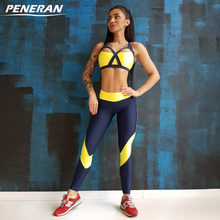 PENERAN Women Tracksuit Yoga Set Sleeveless Gym Clothing Fitness Workout Kit Female Running Sport Underwear Set Yoga Bra+legging(China)