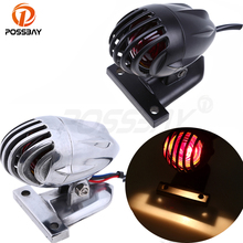 POSSBAY Black/Chrome Aluminum LED Universal Motorcycle Taillight Stop Lights For Harley Davidson Honda dio Yamaha r1 Cafe Racer(China)