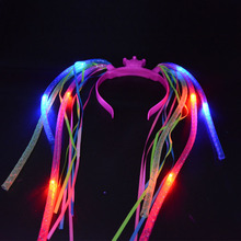 2017  Fun Braids Light Up Crown Noodle Hair Band LED Party Headband Rave Women Girls Party Decor Glow Party Supplies Halloween