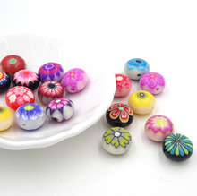 New Arrival Flower Design Oblate Fimo Polymer Clay Beads Flores Mixed 12*8mm Perlas Para Bisuteria Diy Jewelry Accesory 100Pcs