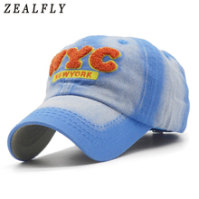 Fashion Washed Cotton Boy Baseball Cap NYC Letters Girls Snapback Hat For Children Sun Hat Brand Cap New York(China)